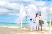 picture of wedding arch  - young loving couple on their wedding day - JPG