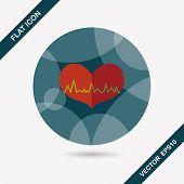image of ecg chart  - Ecg Heart Flat Icon With Long Shadow - JPG