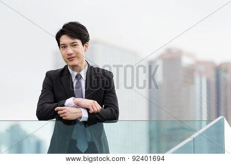 Asian businessman at oudoor