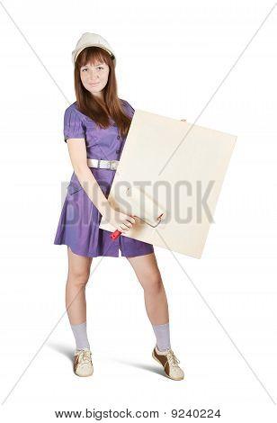 Female Housebuilder Holds Blank Canvas