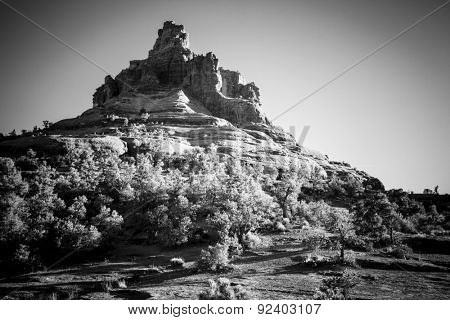 Bell Rock Butte in Sedona, Arizona in black and white