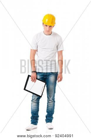 Young man in hard hat with clipboard, isolated on white background