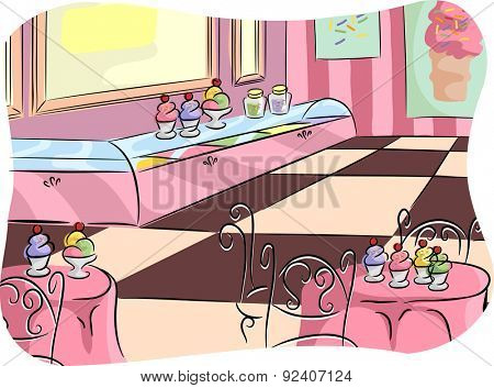 Illustration of an Ice Cream Parlor Ready to Serve Customers