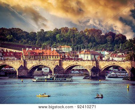 beautiful view of the Charles Bridge in Prague at sunset, Czech Republic