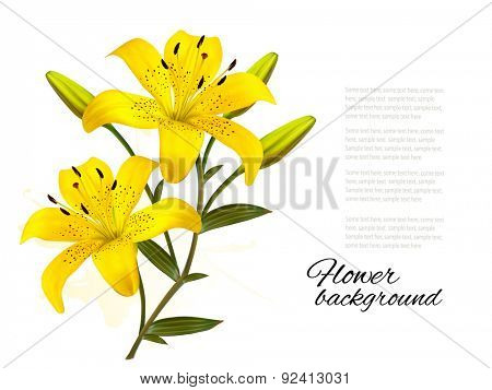 Flower Background With Yellow Beautiful Lilies. Vector.