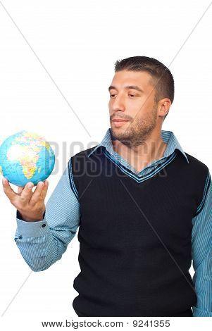 Man Holding A Globe