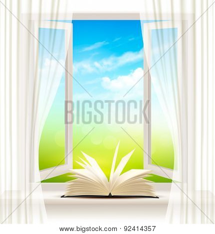 Background with an open window and open book. Vector.