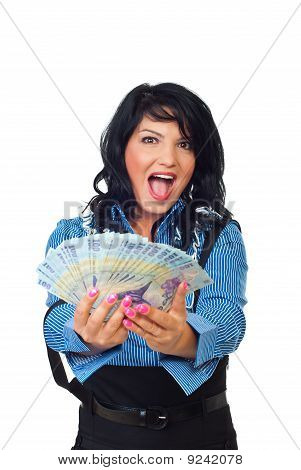 Ecstatic Woman Giving Romanian Banknotes
