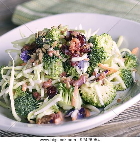 Salad With Broccoli,Cauliflower,Red Cabbage,Sunflower Seeds,Dried Cranberries and Bacon
