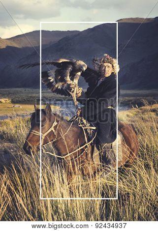 Horseman Riding Equestrian Mongolian Culture Concept