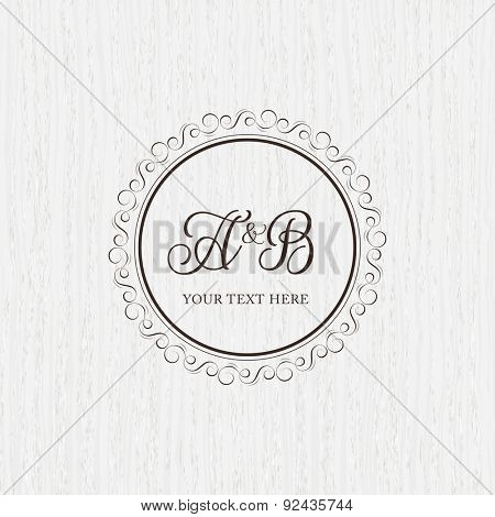 Vintage frame for weddings, invitations, greeting cards, menus, business identity. Elegant vector calligraphic design on wood texture background.