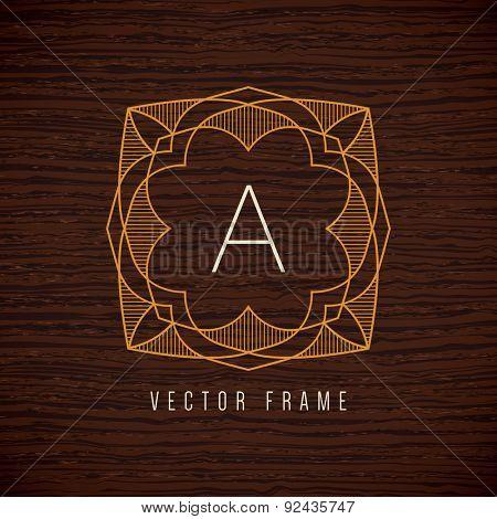 Vector mono line frame. Art deco monogram design template.