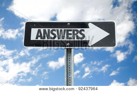 Answers direction sign with sky background