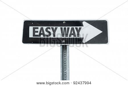 Easy Way direction sign isolated on white
