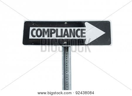 Compliance direction sign isolated on white