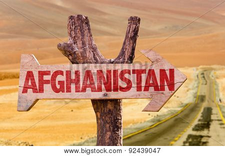 Afghanistan wooden sign with desert background