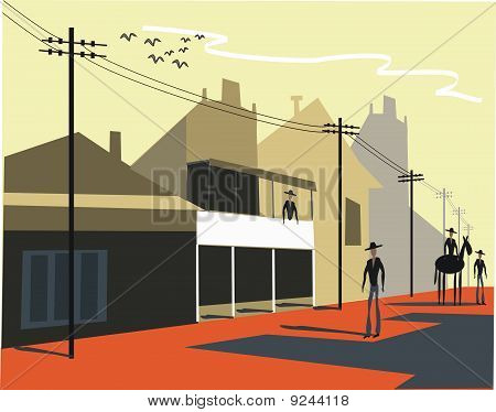 Old Western town illustration