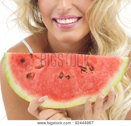 portrait of attractive  caucasian smiling woman isolated on white studio shot eating watermelon