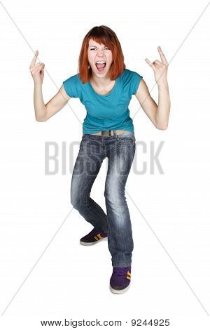 Young Redhead Girl Shouting And Making Punk Gesture, Full Body, Isolated
