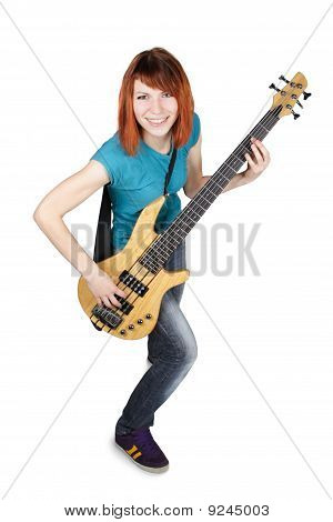Young Beauty Redhead Girl Playing Bass Guitar And Smiling, Full Body, Isolated