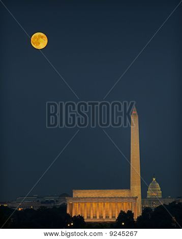 Washington Monuments And Harvest Moon