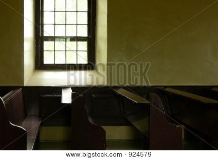 Church Window And Pews