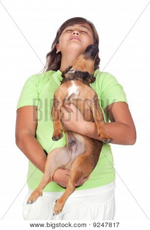 Teenage Girl With Her Puppy
