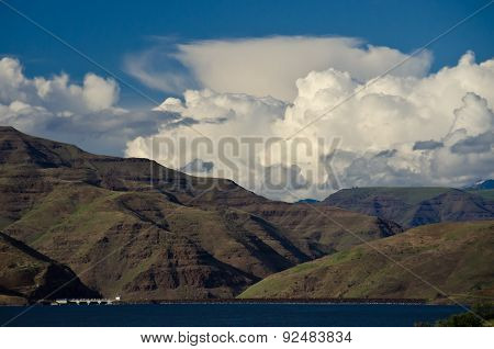 Storm Clouds Forming Above Brownlee Dam In Hells Canyon