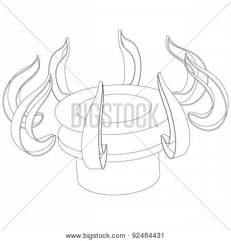 Abstract Outline Of The Gas Burner On A White Background
