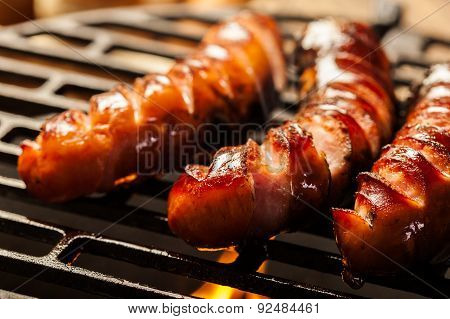 Grilling Sausages On Barbecue Grill