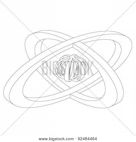 Abstract Sphere Logo Grooved Contour On A White Background