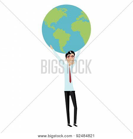 Businessman holding a globe overhead