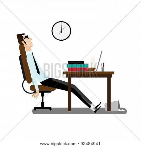 Tired office man sitting at desk