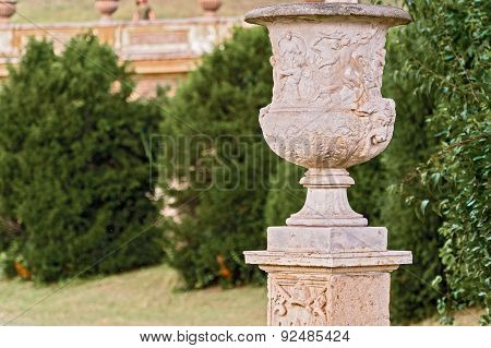Carved Flower Pot In Villa Pamphili Park In Rome, Italy.