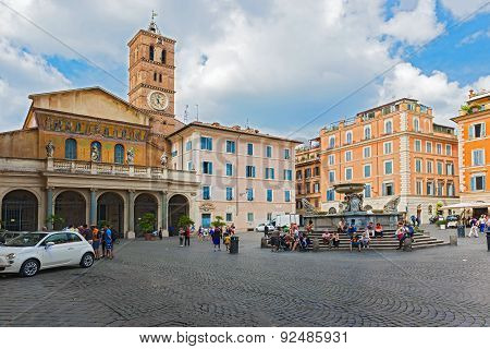 The Basilica Of Our Lady In Trastevere In Rome, Italy.