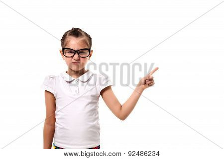 Your Text Here. Little Girl Pointing Empty Space
