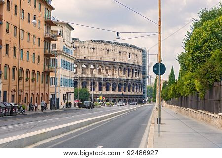Street To Coliseum In Rome, Italy