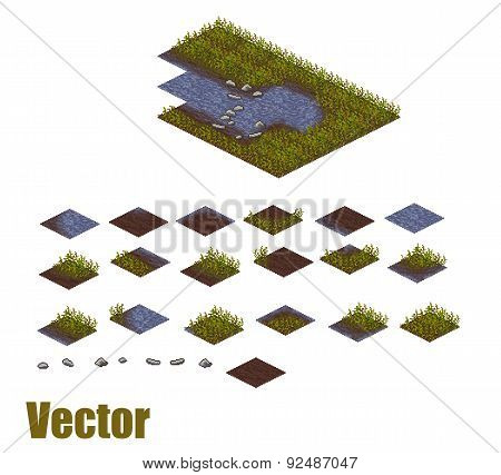 Pixel art river tilesets. Water, grass and land tiles. Vector game assets