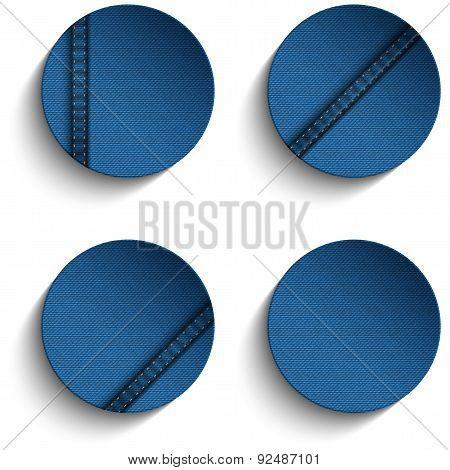 Jeans Circle Blue Denim Button