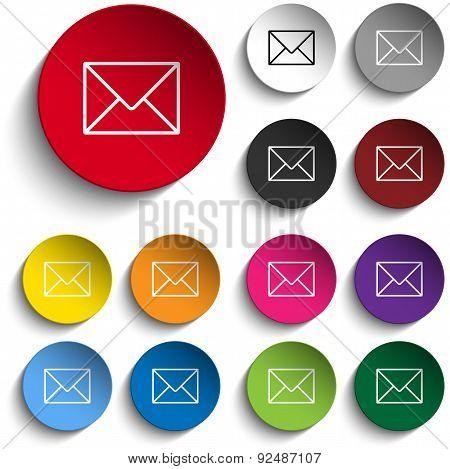 Mail Envelope Icon Circle Color Set