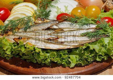 Sprats, Smoked, Salad, Lemon, Onions, Tomatoes