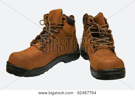 Safety boots isolated on white background, close up new boots on white background