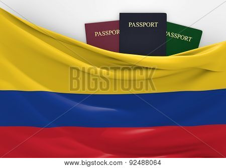 Travel and tourism in Colombia, with assorted passports