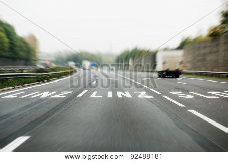 German Autobahn With Roadmarking Sign To Linz, Austria