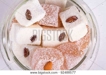 Turkish Delights In Glass Bowl