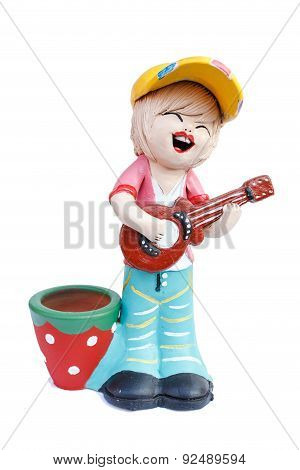 Boy Doll Playing The Guitar Doll Made From Baked Clay