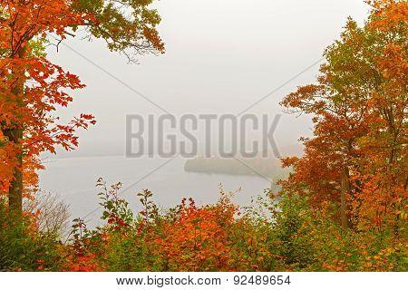 Fog Over Lake In Algonquin Park In Ontario, Canada.