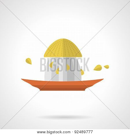 Citrus juicer flat color vector icon