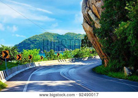 The Big Rock Road At Lamai, Samui Island, Thailand, Local Landmark