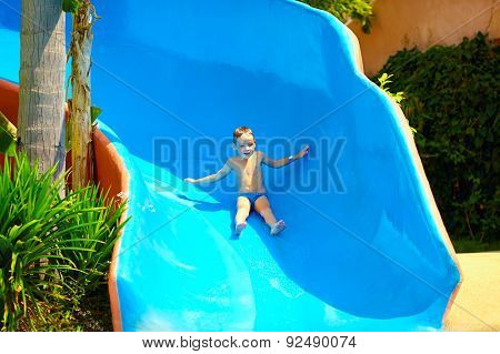 Happy Kid Boy Sliding In Tropical Water Park